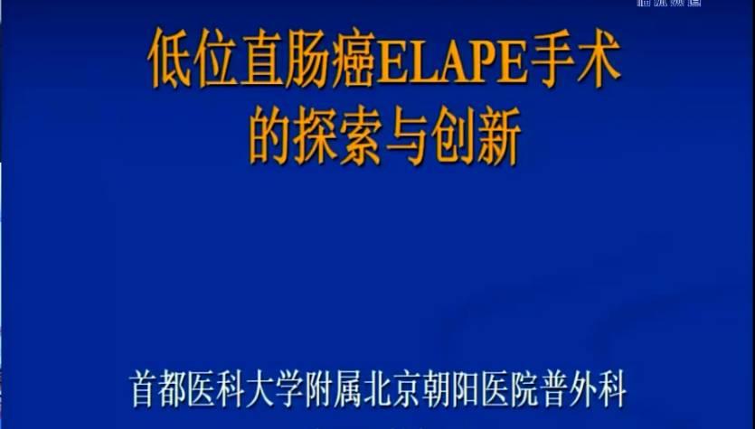 结直肠癌 外科讲坛 韩加刚:低位直肠癌ELAPE手术的探索与创新