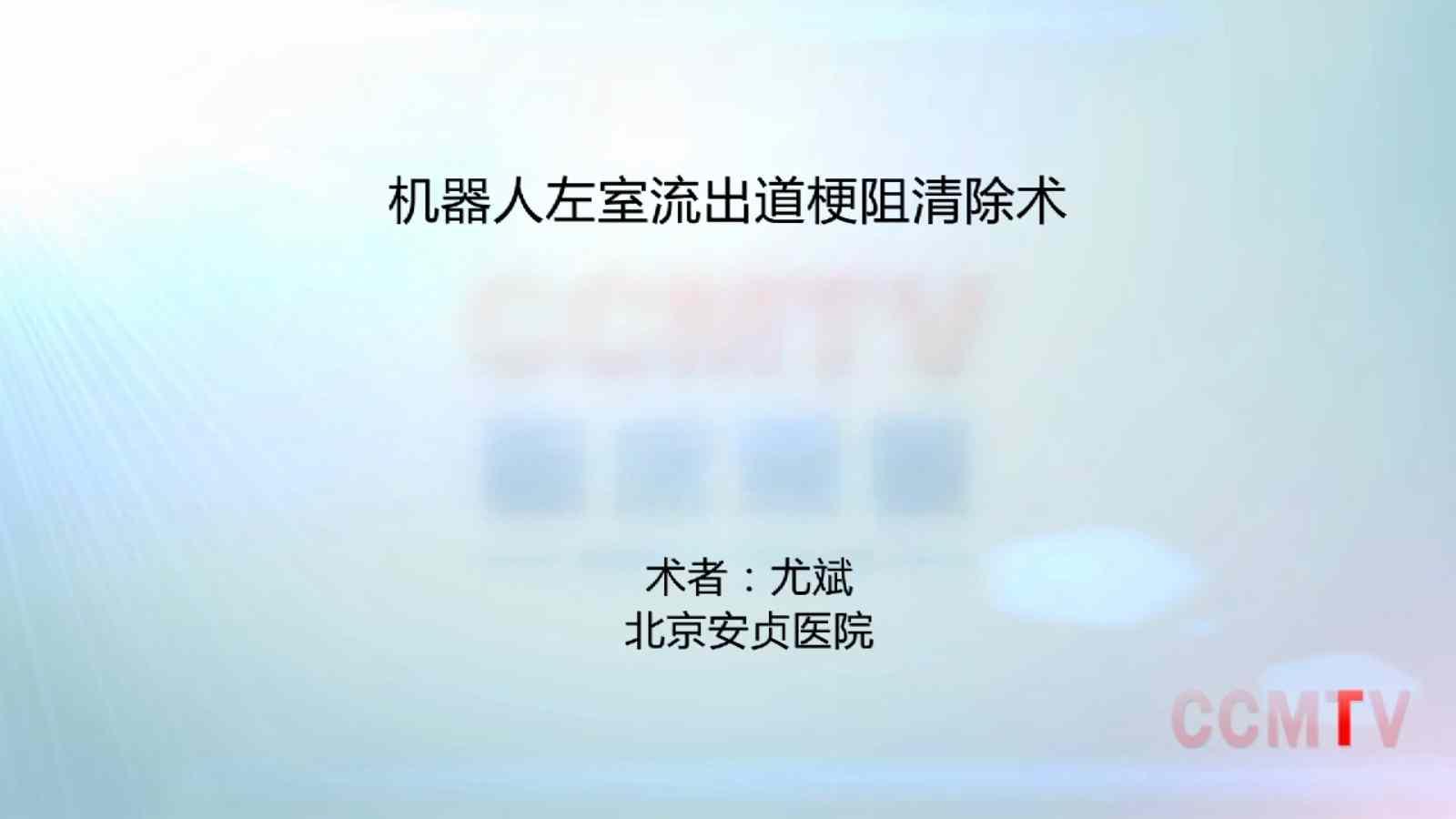 心脏病 手术    尤斌:机器人左室流出道梗阻清除术