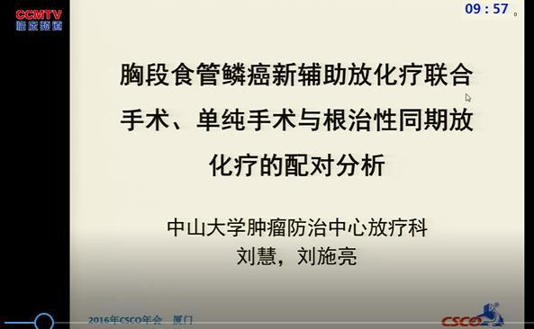 食管癌 综合治疗 新辅助放化疗 手术 刘施亮:胸段食管鳞癌新辅助放化疗联合手术、单纯手术与根治性同期放化疗的配对分析