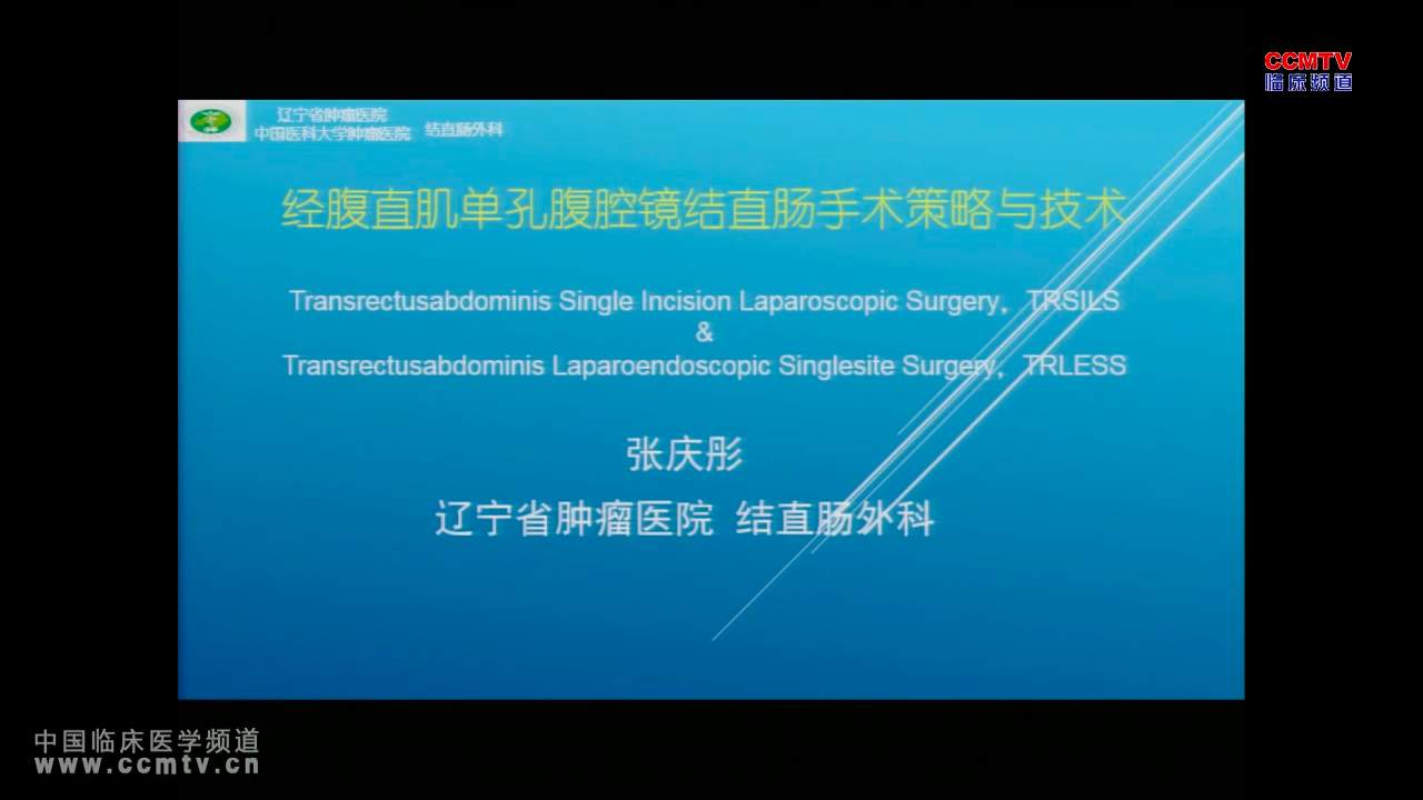 结直肠癌,手术,腹腔镜 张庆彤:经腹直肌单孔腹腔镜结直肠手术策略与技术