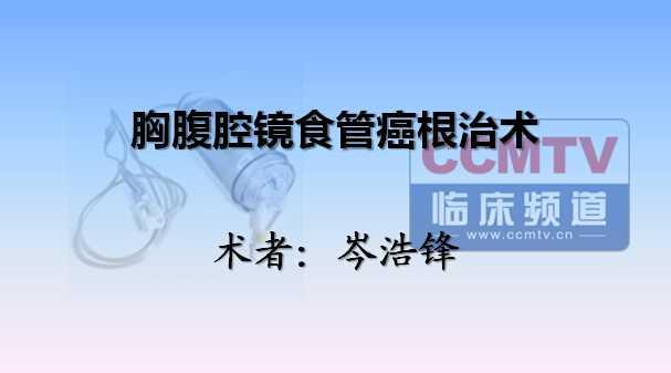食管癌 手术 微创 胸腔镜 腹腔镜 岑浩锋:胸腹腔镜食管癌根治术+管胃制作